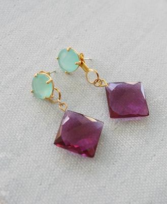 Aqua Quartz and Pink Chalcedony Post Earrings - The Tiffany Earrings