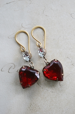 JEWEL Vintage Red Heart Cabachons and Gold Earwires - The Valentine Earrings