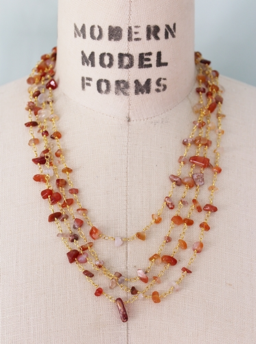 Carnelian Layered Necklace - The Ida Necklace