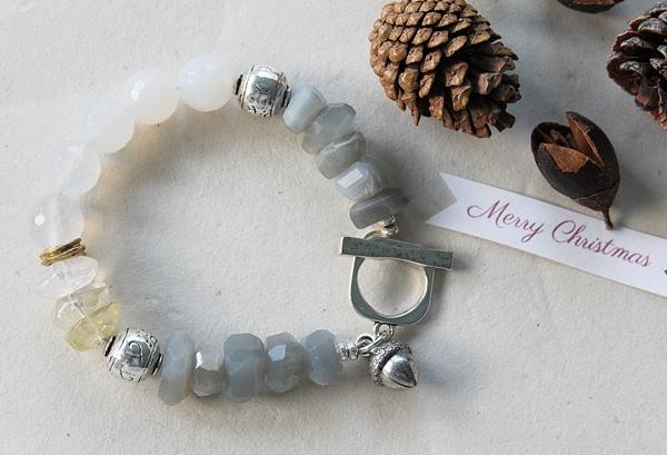 Gray Moonstone Citrine and Snow Quartz Bracelet - The Winter Bracelet