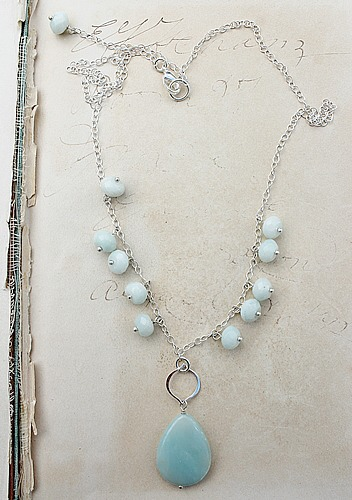 Amazonite Pendant and Sterling Silver Necklace - The Nina Necklace