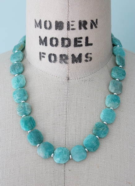 Amazonite Square Necklace - The Bailey Necklace
