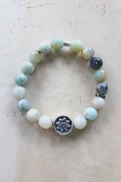 Amazonite and Sterling Stretch Bracelet - The Casey Bracelet