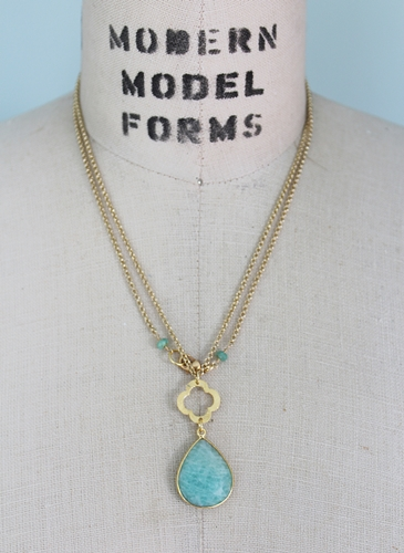 Amazonite Teardrop and Gold Necklace - The Leila Necklace
