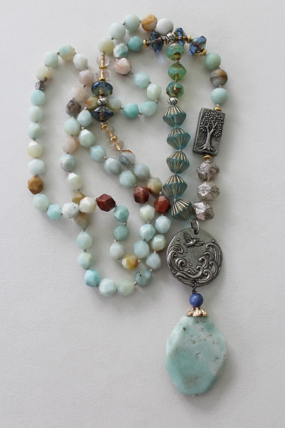 Amazonite and Assorted Glass Knotted Necklace - The Sanibel Necklace