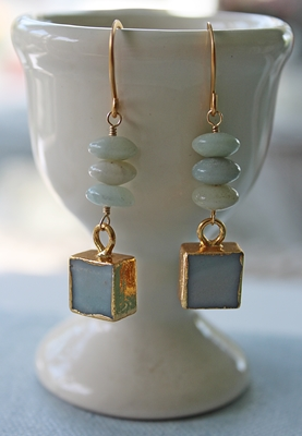 Amazonite and Smooth Druzy Earrings - The Amelia Earrings