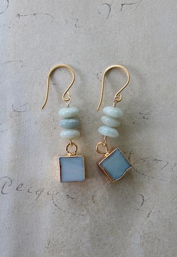 Amazonite and Smooth Druzy Earrings - The Amelia Earrings