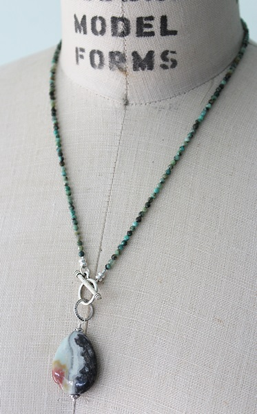 African Turquoise and Amazonite Tear drop Pendant Necklace - The Shelby Necklace