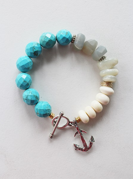 Turquoise Gray Agate Moonstone and Bone Anchor Bracelet - The Seashore Bracelet