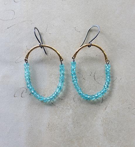 Apatite Hoop Earrings - The Gerilynn Earrings