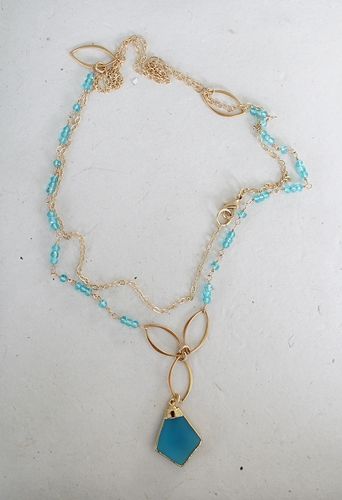 Apatite and Quartz Gold Necklace - The Avery Necklace