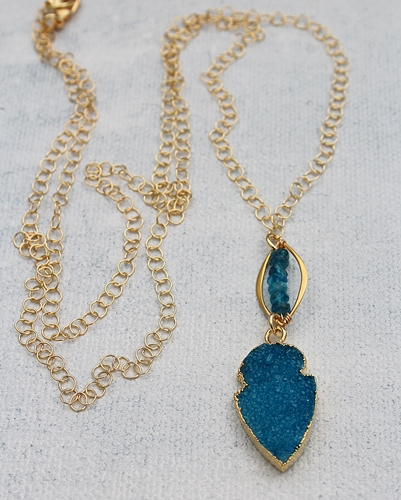 Apatite and Druzy Pendant Necklace - The Piper Necklace