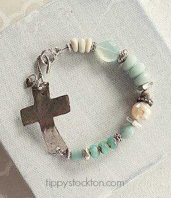 Amazonite Pearl and Silver Cross Bracelet - The Easter Cross Bracelet