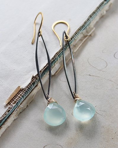 Aqua Chalcedony Mixed Metal Earrings - The Tori Earrings