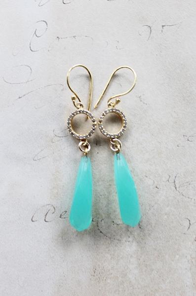 Aqua Chalcedony Drop Earrings - The Alex Earrings
