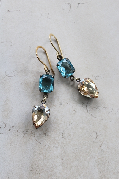 Aqua and Champagne Vintage Drop Earrings