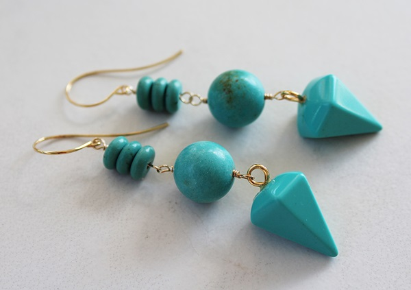 Magnesite and Turquoise Trio Earrings - The Molly Earrings