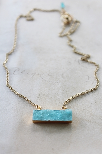 Aqua Bar Druzy Necklace - The Alice Necklace