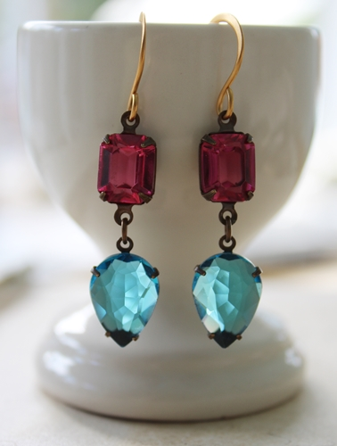 Fuschia and Aqua Vintage Drop Earrings