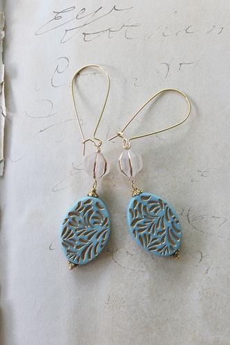 Oval Aqua Lucite Earrings - The Dori Earrings