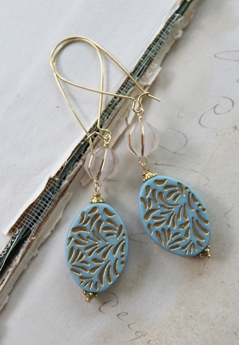 Oval Aqua Lucite Earrings - The Dori Earrings