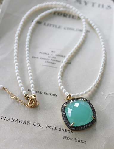 Cushion Cut Aquamarine and White Topaz Pendant Necklace