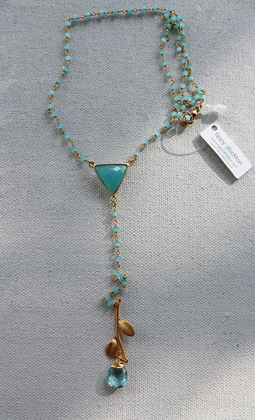 Aqua Quartz Lariat Necklace