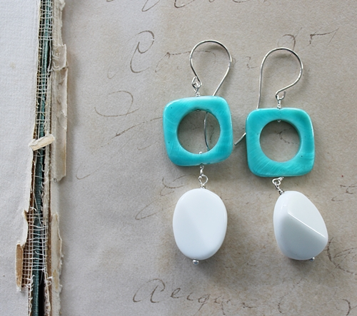 Aqua Shell and Vintage Glass Earrings - The Samantha Earrings