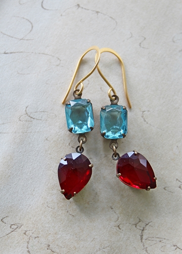 Aqua and Red Vintage Drop Earrings