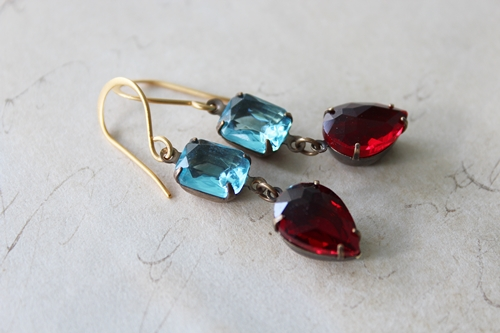 Aqua and Red Vintage Drop Earrings