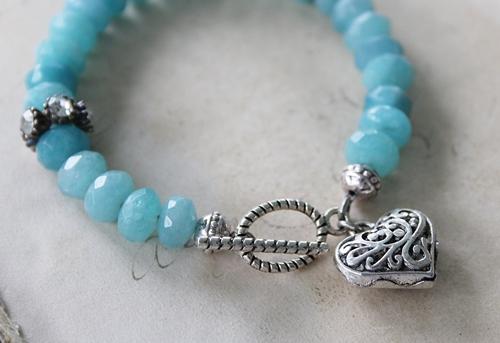 Aquamarine and Silver Heart Bracelet - The Lani Bracelet