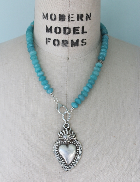 Aquamarine and Milagros Heart Necklace - The Maria Necklace