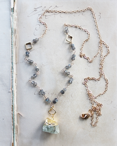 Raw Aquamarine and Labradorite Necklace - The Krissy Necklace