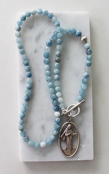 Aquamarine and the Virgin Mother Medal Necklace - The Mary Necklace