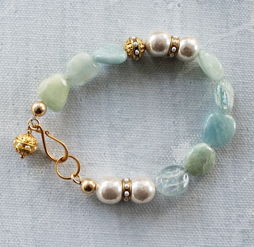 Vintage Glass Pearls and Aquamarine Bracelet - The Mara Bracelet
