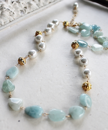 Vintage Glass Pearl and Aquamarine Necklace - The Mara Necklace