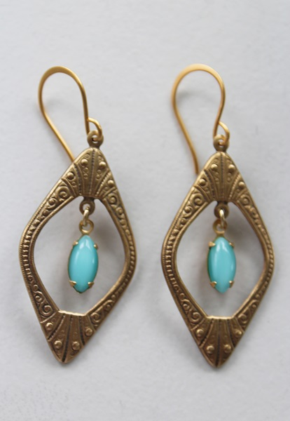 Art Deco Brass Hoops with Vintage Glass Drop - The Keri Earrings