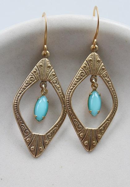 Art Deco Brass Hoops with Vintage Glass Drop - The Keri Earrings