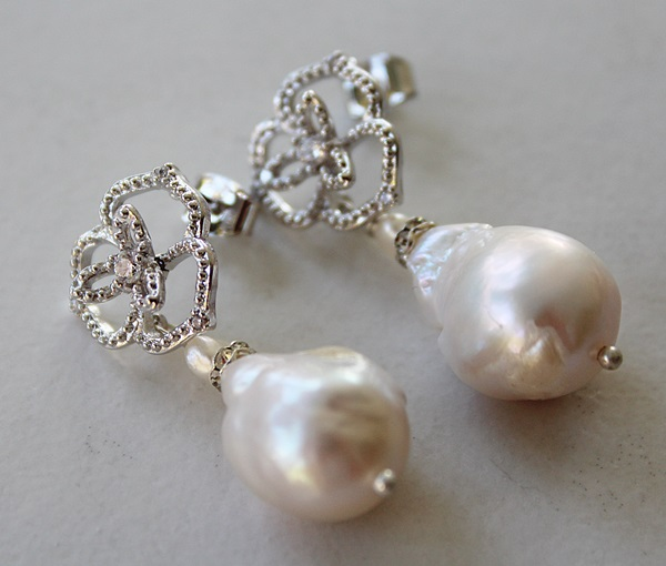 Fancy CZ Post & Baroque Pearl Earrings - The Helene Earrings