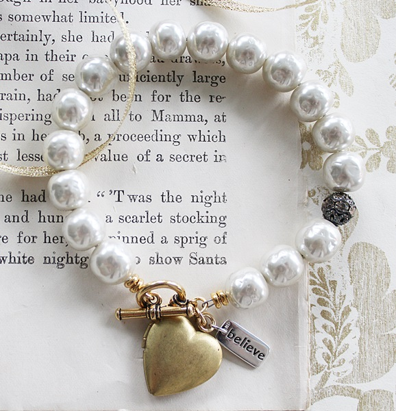 Vintage Glass Pearls and Heart  Locket Bracelet - The Believe Bracelet