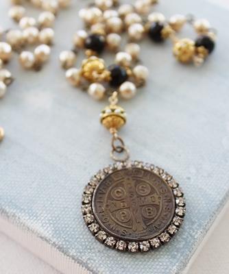 Vintage Benedictine Rhinestone Cross Pendant - The Leonilla Necklace