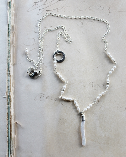 Biwa Fresh Water Pearl and Sterling Silver Necklace - The Jill Necklace