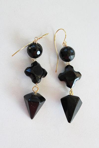Black Onyx Trio Earrings - The Sally Earrings