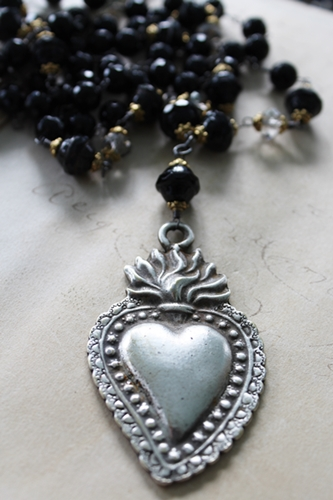 Onyx and Vintage Glass Mixed Metal Milagro Necklace