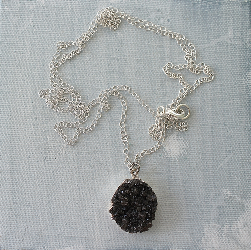 Black Druzy on Choice of Gold or Silver Chain Necklace - The Eden Necklace