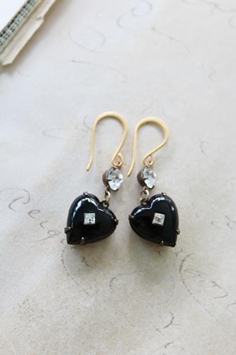 Black Heart Vintage Glass Earrings