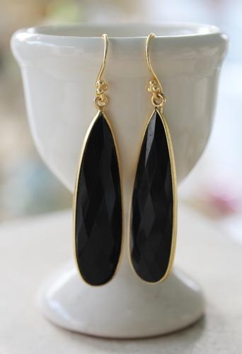 Black Onyx Drop Gold Earrings