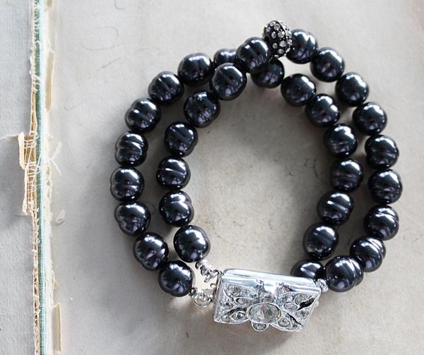 Vintage Miriam Haskell Black Glass Pearl Silver Bracelet