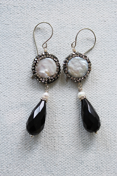 Black Glass and Fresh Water Pearl Earrings