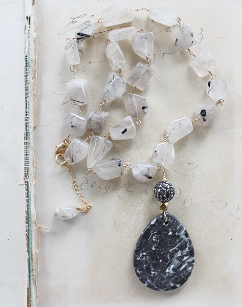 Black Rutiliated Quartz and Agate Necklace - The Fiona Necklace